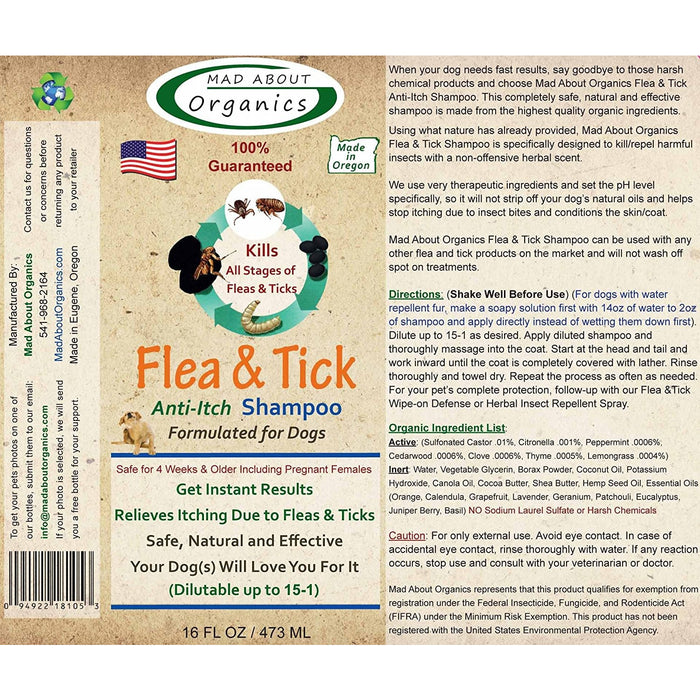 Mad About Organics | Flea & Tick Shampoo for Dogs