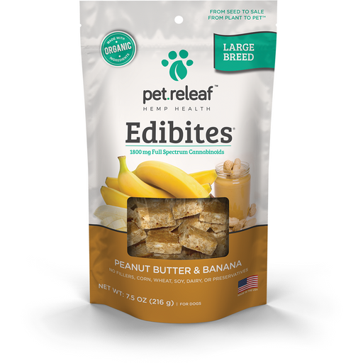 Pet Releaf | Large Breed Peanut Butter Banana CBD Hemp Oil Edibites