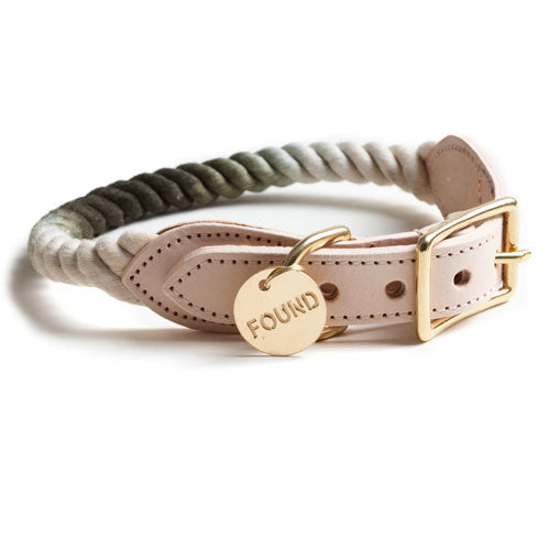 Found My Animal | Cat & Dog Cotton Rope & Leather Collar - Olive Ombre