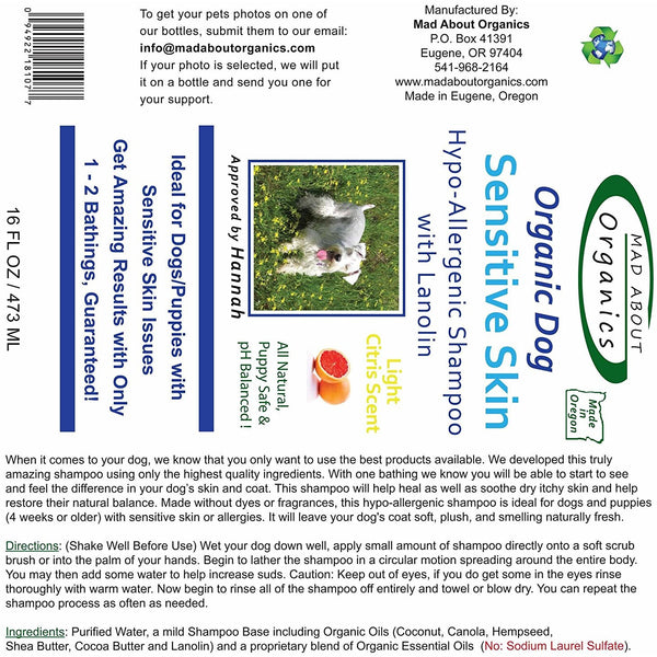 Mad About Organics | Sensitive Skin Shampoo with Lanolin for Dogs