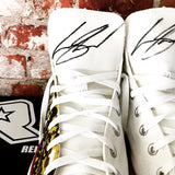 Levi Sherwood's signature on both Converse Tongues for Cure Kids by Relentless