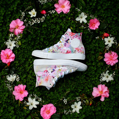 Floral Watercolour Converse Mono High Tops