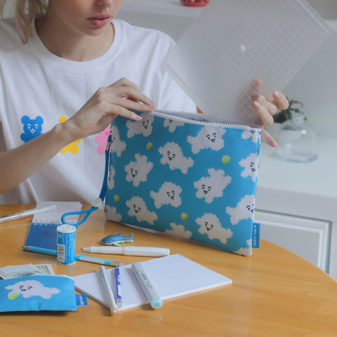 "LARGE BLUE ""PUFF PUPP"" POUCH"
