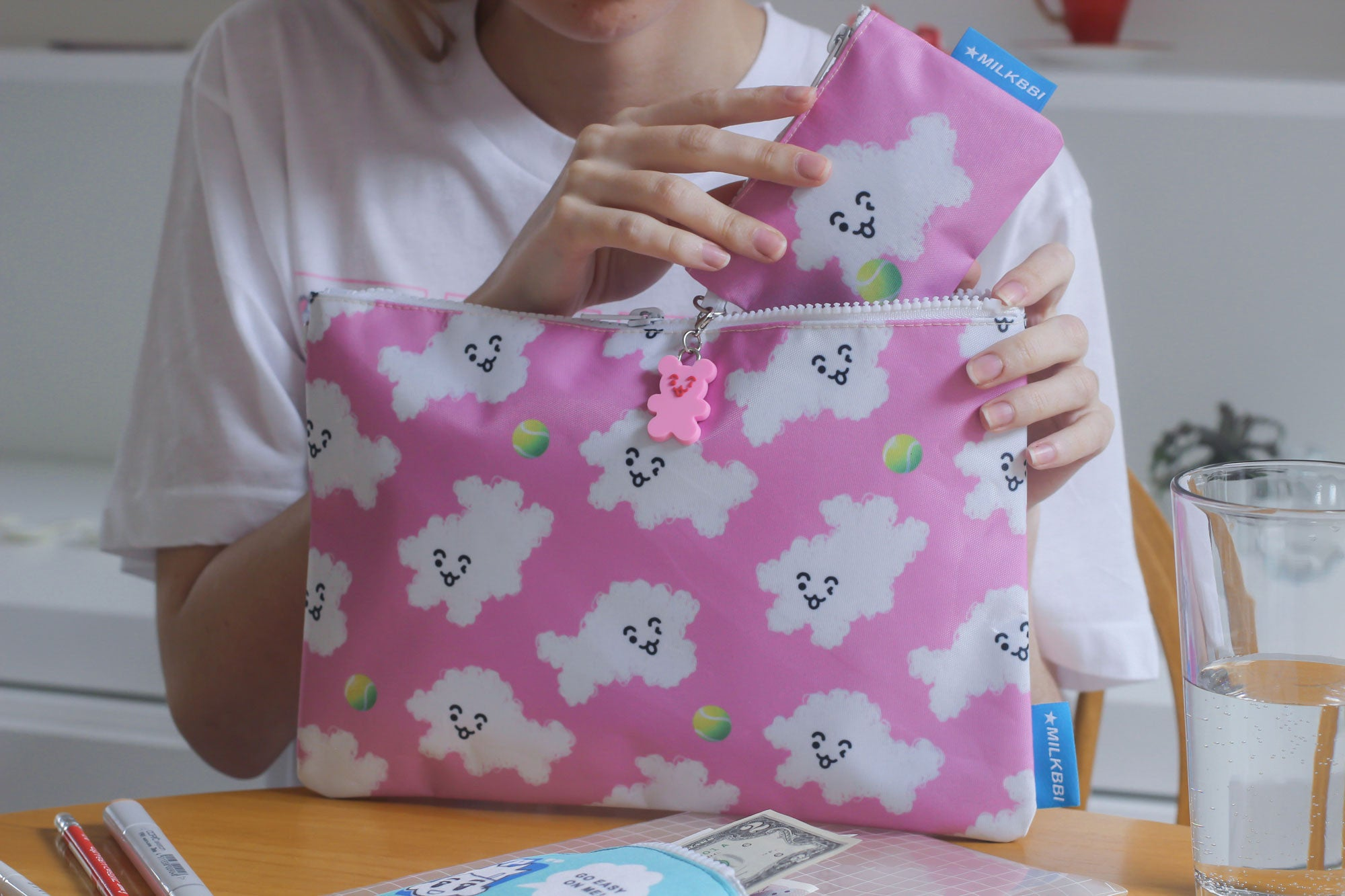 "LARGE PINK ""PUFF PUPP"" POUCH"