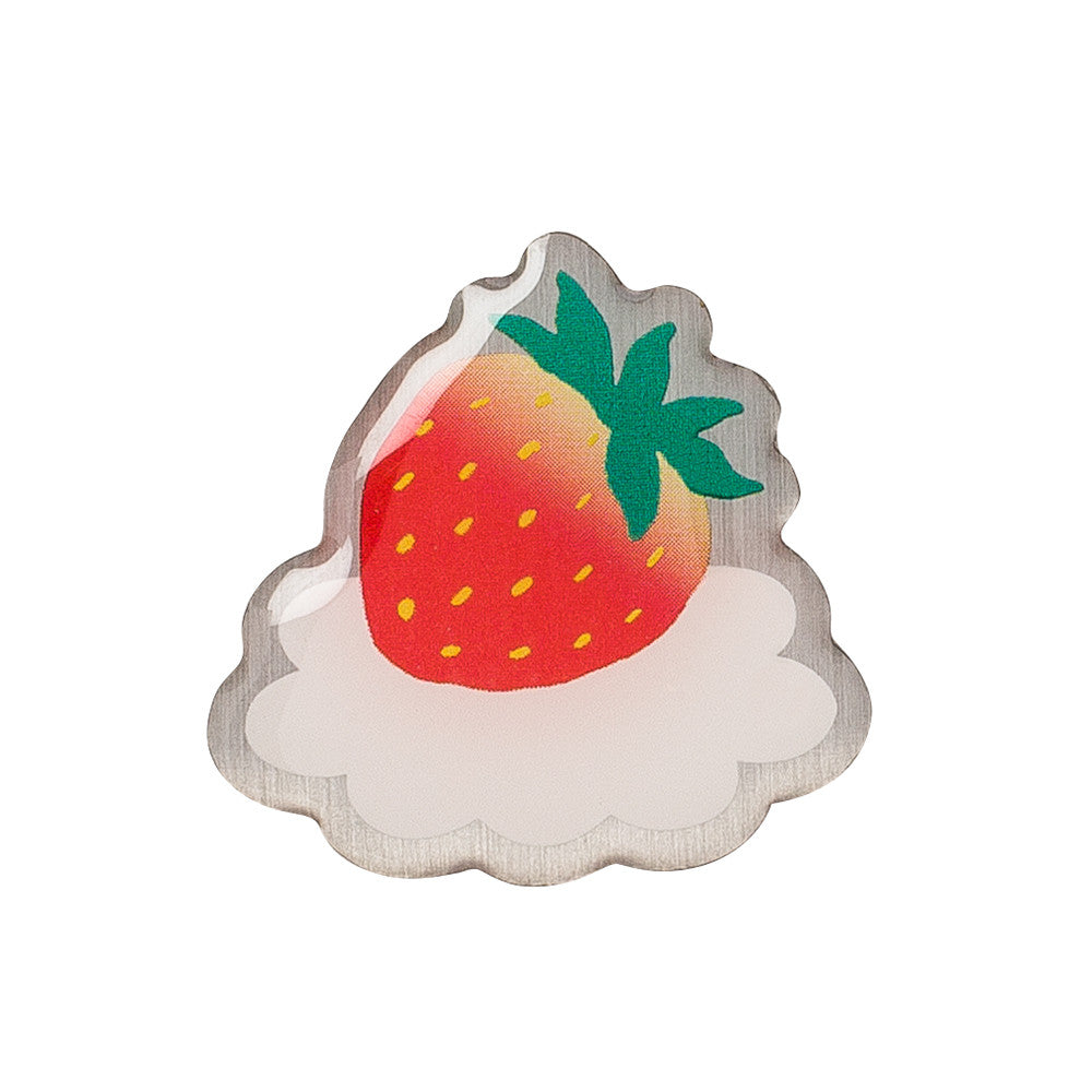 """STRAWBERRY ON A CLOUD"" METAL PIN"