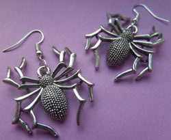 Vintage Silver Spider Charm Pendant Earrings
