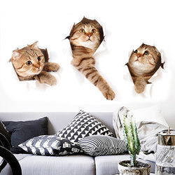 3 Cat Wall Stickers