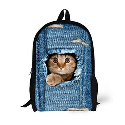 2017  New Cute Animal Denim School Bags