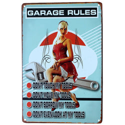"""Garage Rules"" Vintage Metal Tin Garage Shop Sign"