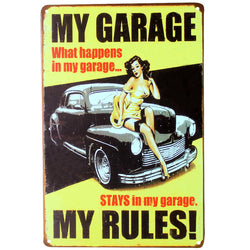 """My Garage My Rules"" Vintage Metal Tin Garage Shop Sign"