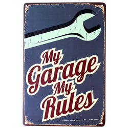 "Vintage Metal Tin Garage Shop Sign ""My Garage My Rules"""