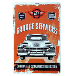 """Garage Services"" Vintage Metal Tin Garage Shop Sign"