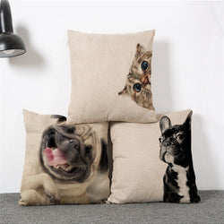 Cute Cotton Linen Cat, Dog, Pug, Decorative Pillow Case.