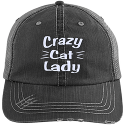 Crazy Cat Lady Distressed Unstructured Trucker Cap