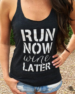 Run Now Wine Later Gym Tank Top.