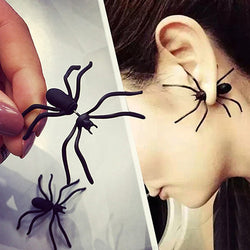 1Pair Black Spider Ear Stud Earrings