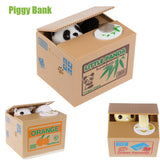 White /Yellow Cat Panda Automatic Stealing Kitty Piggy Bank Gift