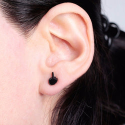 Black Stainless Steel Middle Finger Ear Studs