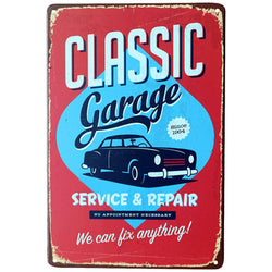 """Classic Garage"" Vintage Metal Tin Garage Shop Sign"