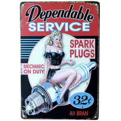 """Dependable Service"" Vintage Metal Tin Garage Shop Sign"