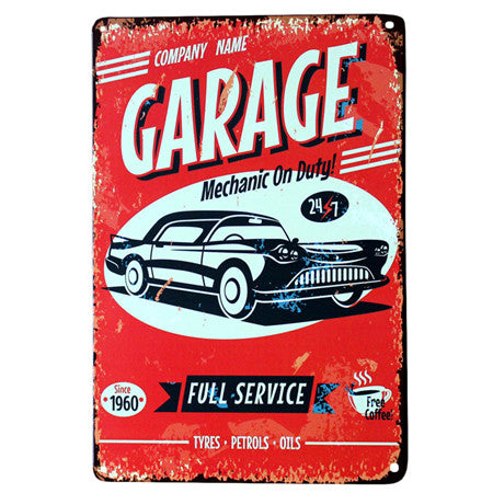 """Garage"" Vintage Metal Tin Garage Shop Sign"