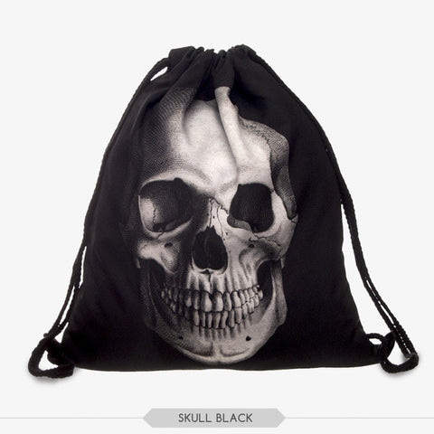 Hot New 2017 Black Drawstring Skull Backpack Bag