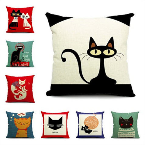 Custom Designed Stylish Cat Pillowcases