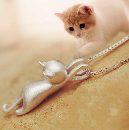 Charming Cat Pendant Necklace - 925 Sterling Silver
