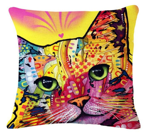 Custom Designed Stylish Art Cat Pillowcases