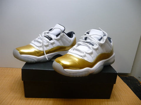 Nike Air Jordan 11 Retro Low BG White, MTLC Gold, Coin Black Size 6.5Y