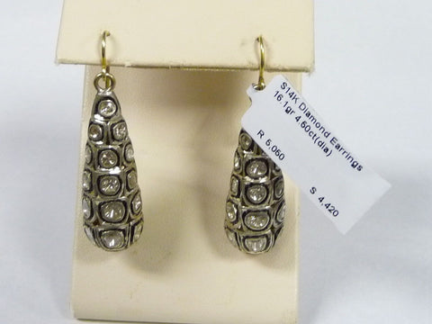 Lovely 14K Yellow Gold 925 Sterling Multi Diamonds Dangle Earrings 4.5 TCW - Manassas Consignment