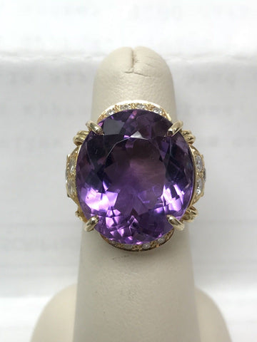 Absolutely STUNNING 14k Ring 25ct Large Dark Purple Amethyst Diamond accents - Manassas Consignment