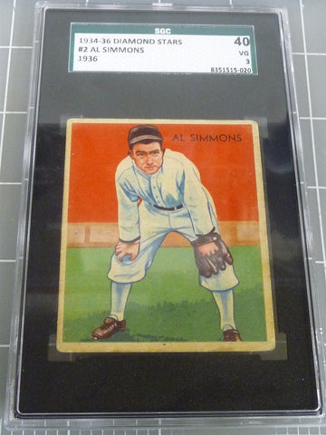 1934-36 Diamond Stars #2 Al Simmons SGC 40 VG 3 Baseball Card - Manassas Consignment