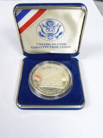 1787-1987 Proof US Constitution 200th Anniversary Commem Silver Dollar w/ Box - Manassas Consignment