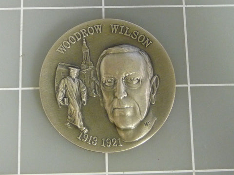 1913-1921 Woodrow Wilson Wittnauer Sterling Silver 40 mm Art Round Medal - Manassas Consignment