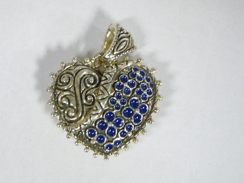 Barbara Bixby 925 Sterling Silver Blue Enamel Heart Enhancer Pendant - Manassas Consignment