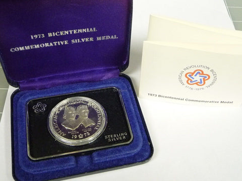 1973 Bicentennial Commemorative Sterling Silver Medal w/ Box & COA - Manassas Consignment