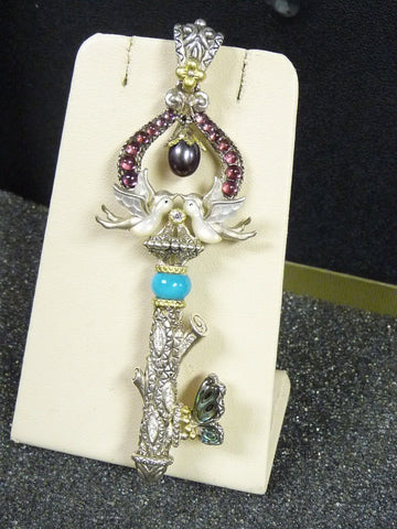 Barbara Bixby 925 Sterling 18K YG Multi Gems Love Birds Large Key Enhancer