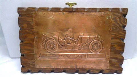 1912 Mercer Raceabout Copper Impression On Wooden Plaque - Manassas Consignment