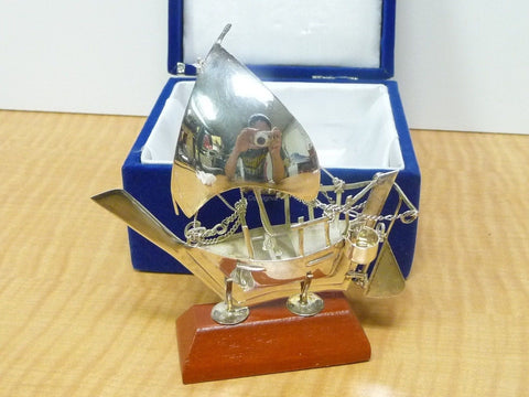 Antique 925 Sterling Silver Dhow Maritime Ship Sail Boat w/ Stand & Box - Manassas Consignment