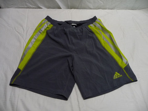 ADIDAS ADIZERO Climacool Men's Shorts Gray/Light Gray/Florescent Yellow Sz L - Manassas Consignment