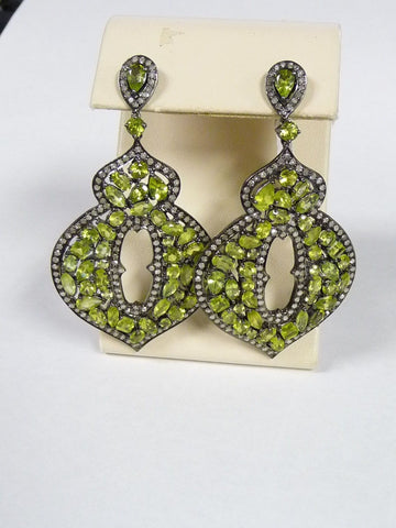 18K YG 925 Sterling Multi Shape Peridot and Diamonds Large Dangle Earrings - Manassas Consignment