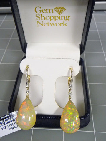 14K Gold Pear Shaped Opal 23.68 TW w/ Round Diamonds .19 TW Dangle Earrings - Manassas Consignment