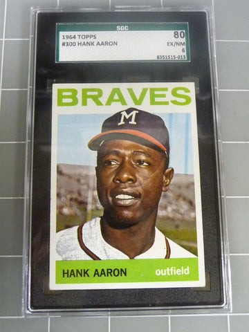1964 TOPPS Hank Aaron Braves #300 SGC EX/NM 80 6 Baseball Card - Manassas Consignment