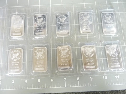 10 x 1oz Sunshine Minting Silver Bullion 10oz Total - SEALED - Manassas Consignment