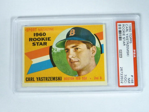 1960 Topps #148 Carl Yastrzemski Rookie PSA 7 NM (OC) Red Sox - Manassas Consignment