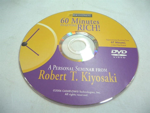 60 Minutes To Getting Rich DVD Robert Kiyosaki Financial Seminar DISC Only - Manassas Consignment
