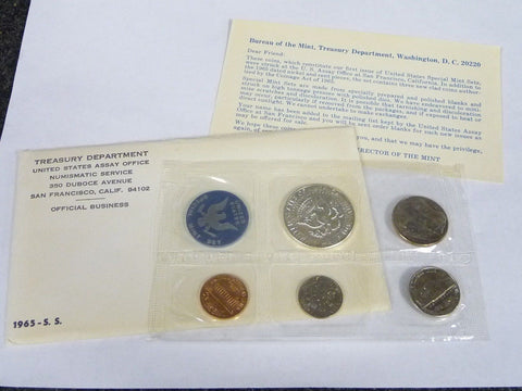 1965 SS US Treasury Department Mint Uncirculated Coin Set Envelope - Manassas Consignment