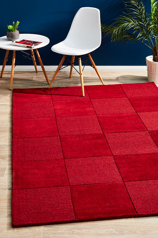 Almeria Squares  Wool Rug Red