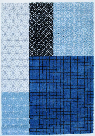 Belle Luxury Geometric Blue Rug III